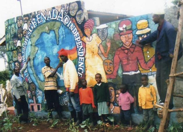 children by a mural