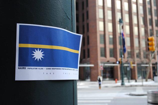 paper flag on a city pole