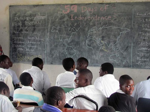 kids in an African classroom