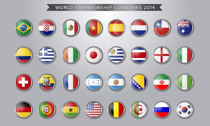 graphic showing flags of nations participating in soccer World Cup 2014