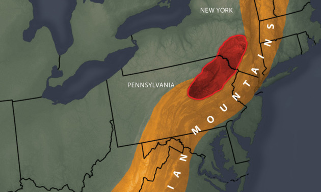 diagram and map showing the Appalachian Mountains in Pennsylvania and New York