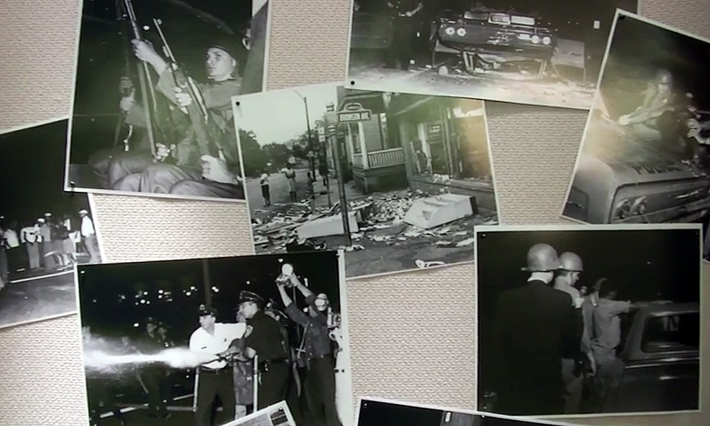 photo collage of many historic images from the riots in Rochester in 1964