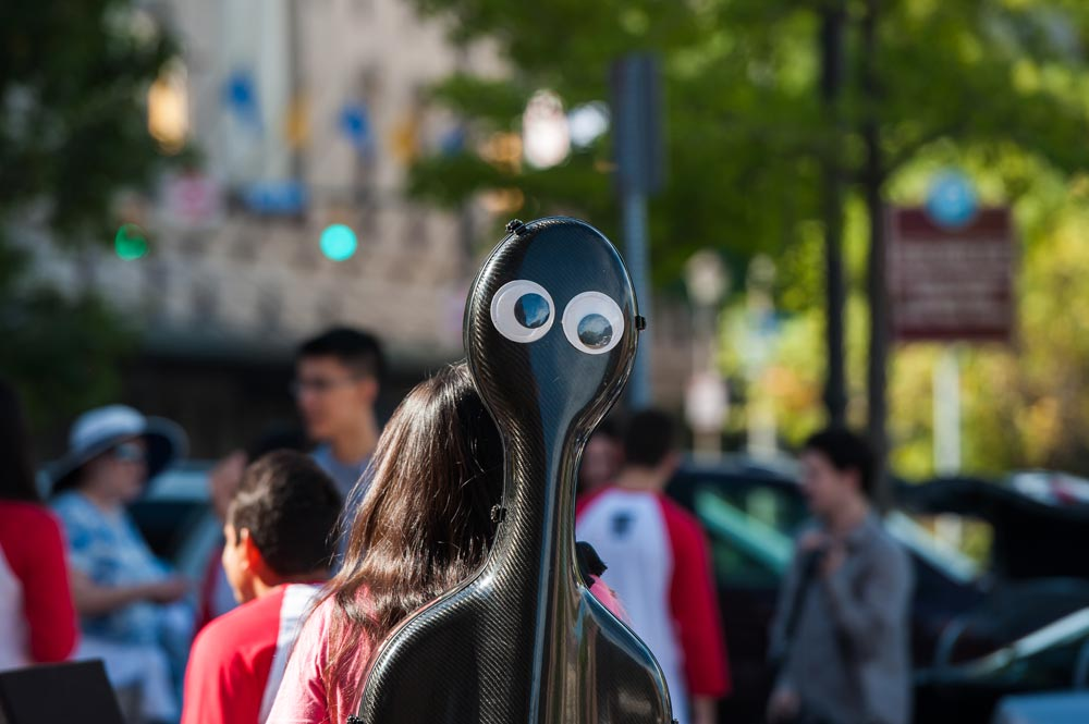 double bass case with funny eyeballs painted on it