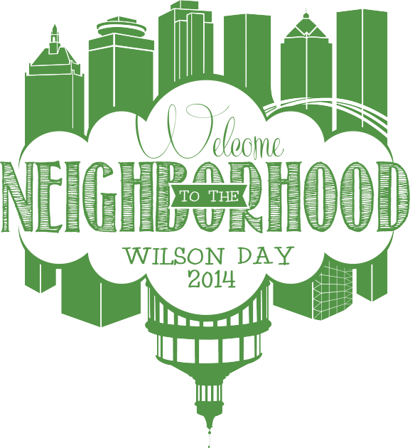 Logo for Wilson Day 2014 features drawing of Rochester skyline and River Campus and reads Welcome to the Neighborhood, Wilson Day 2014