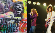Rolling Stones album art and Led Zeppelin on stage