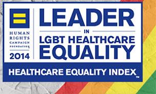 leader logo against rainbow flag