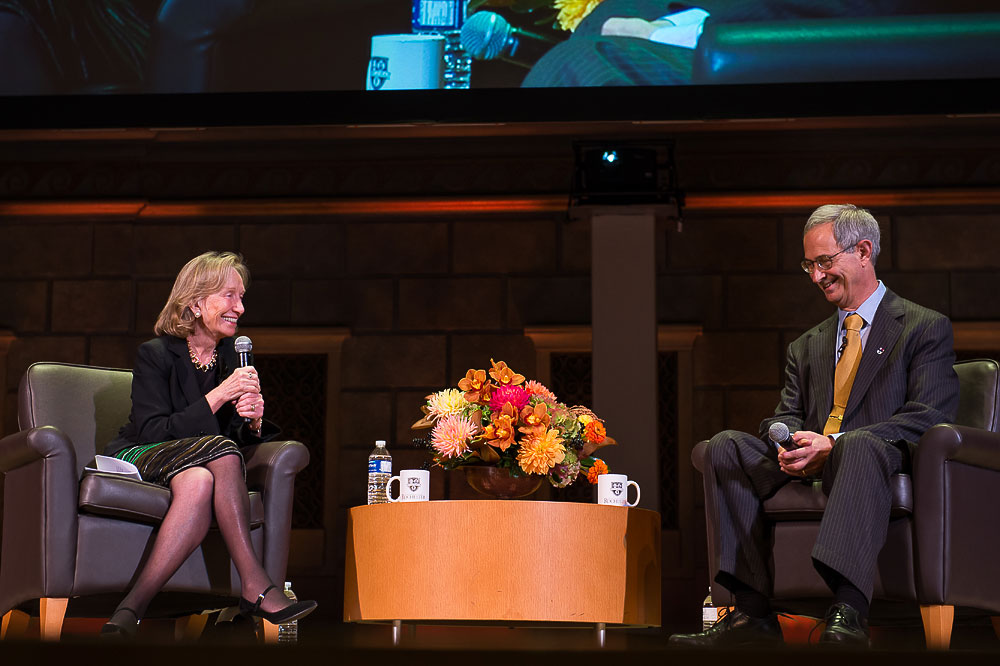 Doris Kearns Goodwin talks with President Seligman