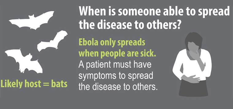 poster from the CDC says, when is someone able to spread the disease to others? Ebola only spreads when people are sick. Bats a likely carriers.