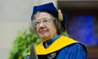 Esther Conwell in commencement attire