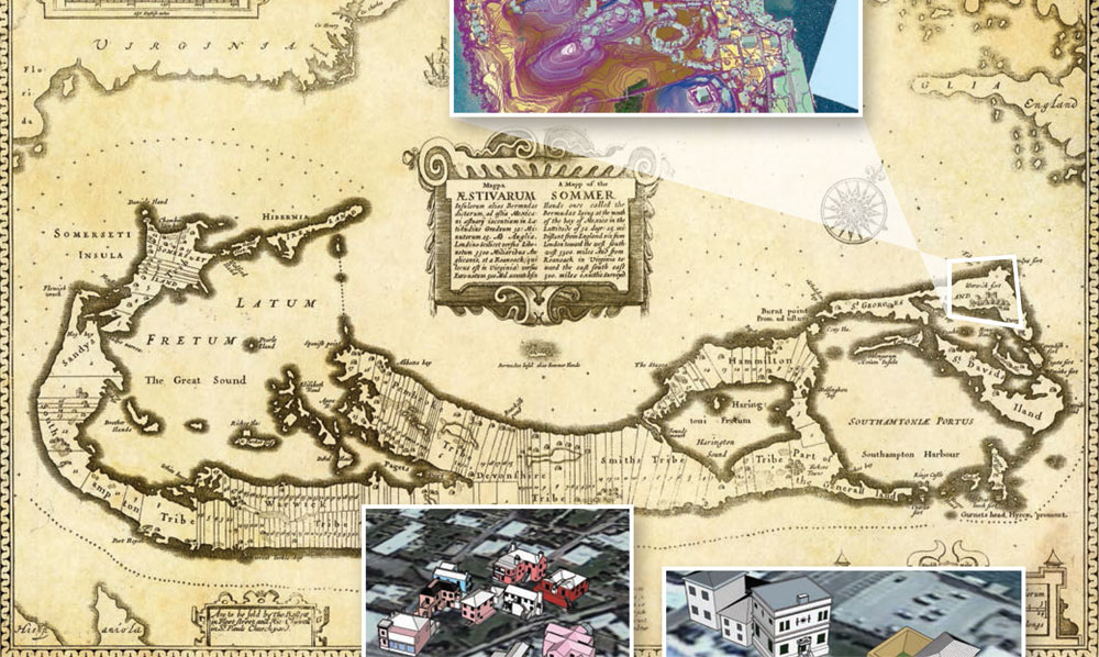 historic map of Bermuda with insets of 3-d building models