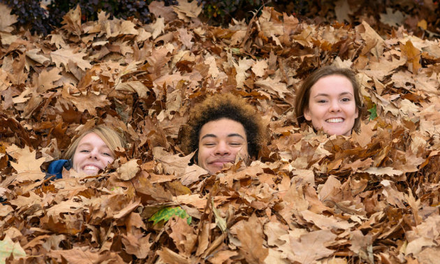 three students buried in leaves, only their faces showing