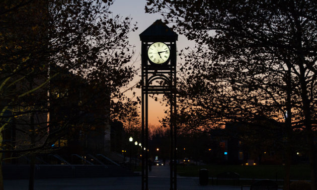 clock tower at sunset