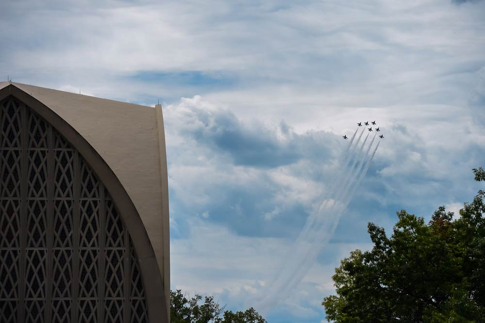 Blue Angels jets flying in the sky over the Interfaith Chapel