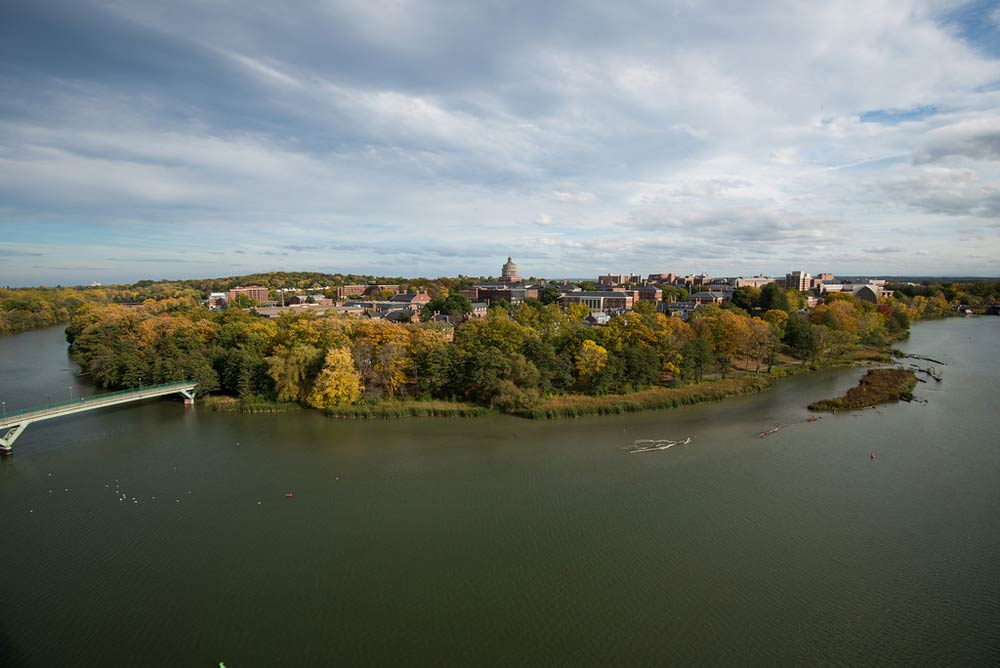 aerial photo of River Campus and Genesee River
