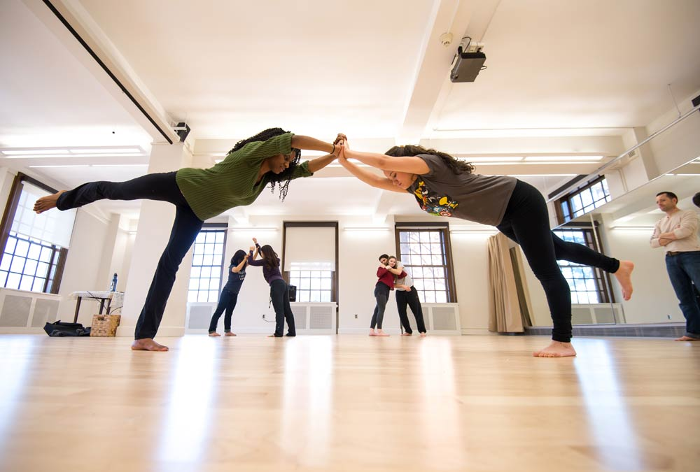 two dancers in a studio