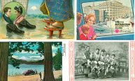 collection of four historic postcards from Japan