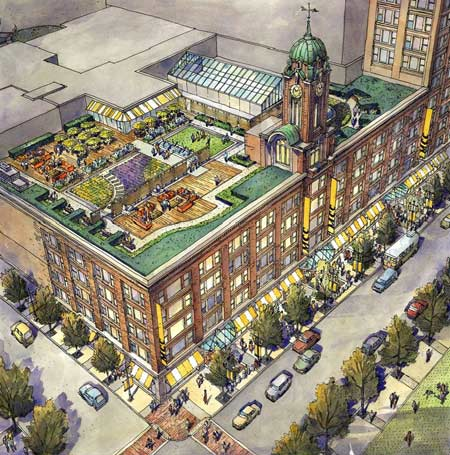 renderings of the redeveloped Sibley Building