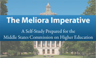 Photo of Rush Rhees library overlaid with 'The Meliora Imperative - a self-study prepared for the Middle State Commission on Higher Education'