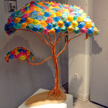 Umbrella tree art en gendered exhibit marks tenth anniversary