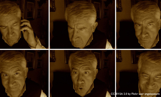 multiple screenshots of man making faces into webcam