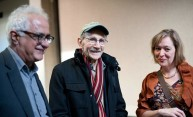 Philip Levine (US Poet Laureate, center) with University of Rochester English professors Jennifer Grotz, right, and John Michael in Hutchison Hall during a visit to campus April 12, 2012.
