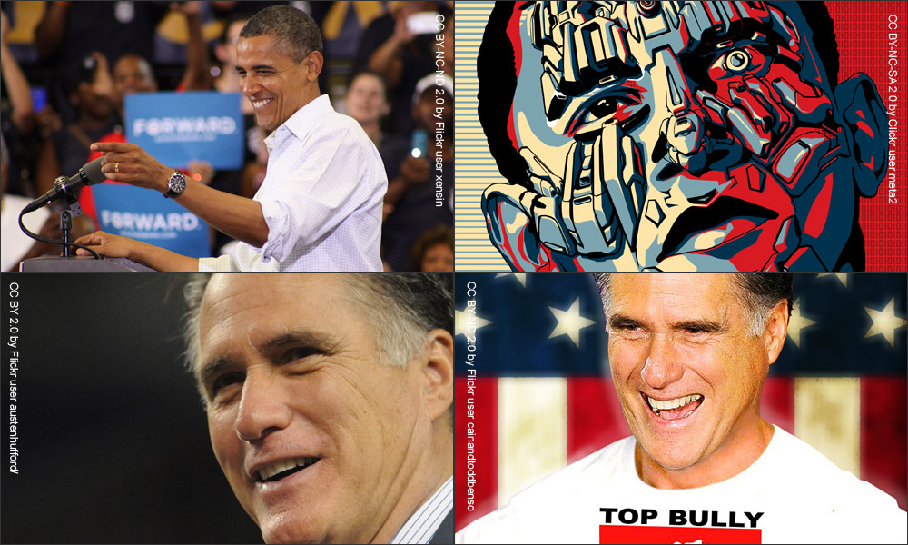collage of four images of Barack Obama and Mitt Romney, two showing each in a positive light and two in a negative light