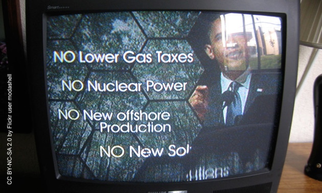 photo of a television showing a political ad with am image of Barack Obama