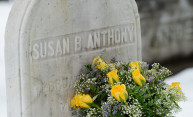 Susan B. Anthony's gravesite with yellow roses