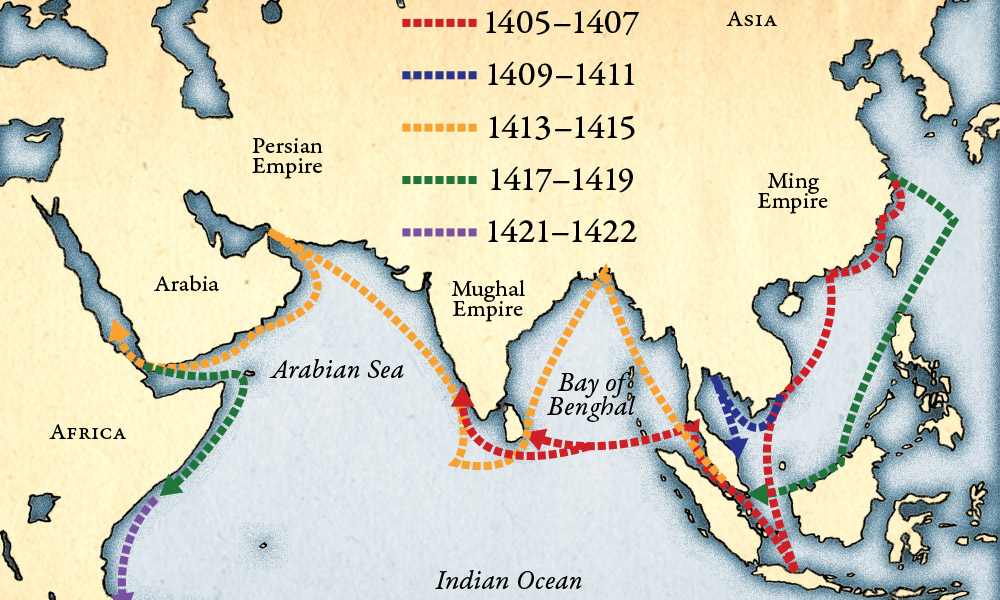 map showing voyages of Zheng He around Asia