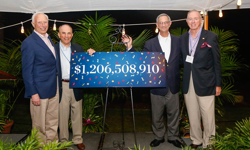 group of men with sign reading $1,206,508,910