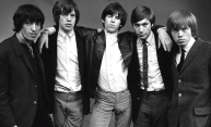 black and white photo of Rolling Stones from 1965