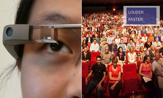 one side of the image shows a woman wearing Google Glass, the other shows an audience with the words Louder and Faster appearing over them