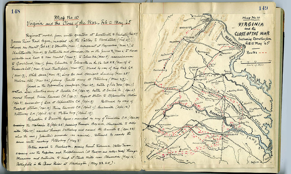 photo of a 19th century handwritten diary with a hand drawn map of Virgina
