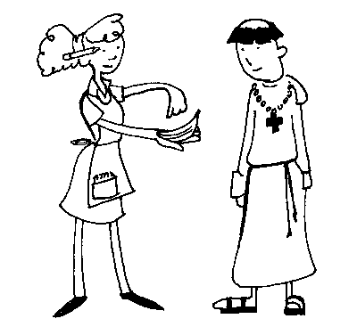 drawing of female waitress pointing pointing to her order pad, and a priest