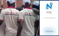 Image showing people wearing Stop Ebola t-shirts and a capture of the main page of the Node app
