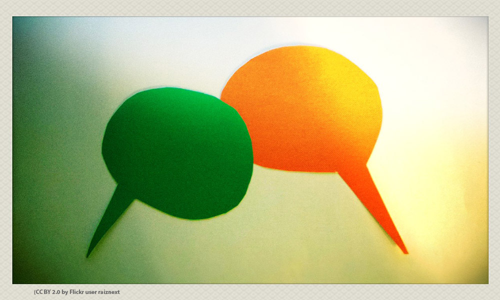 multi colored speech balloons