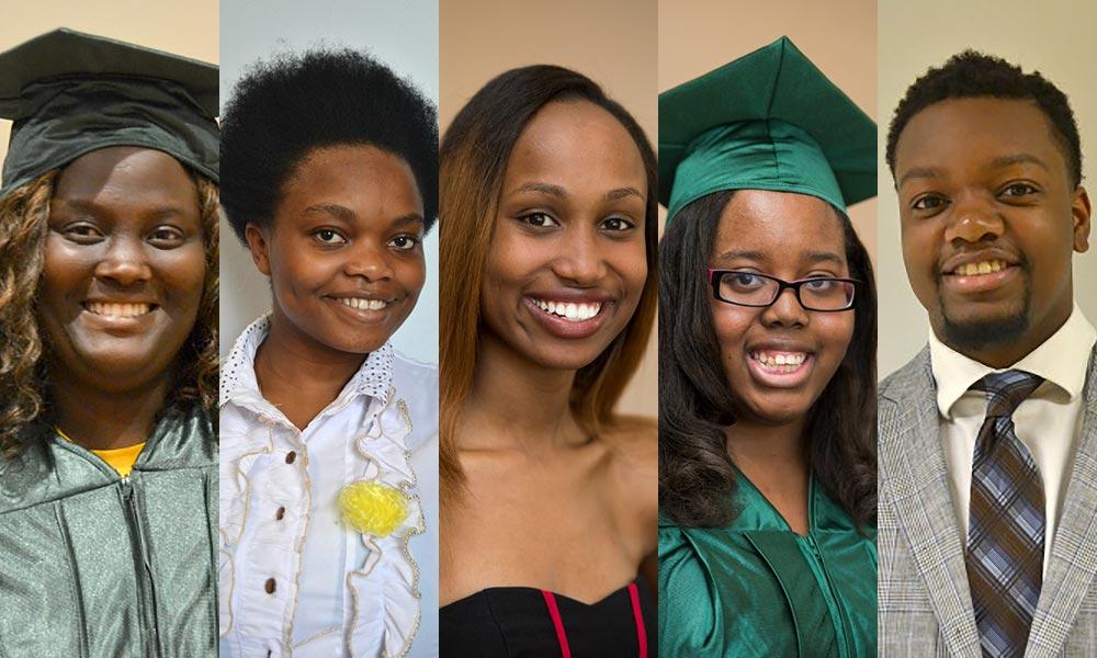 2015 Susan B. Anthony Urban Scholar Award recipients Halima Munyakayanza, Niyera Jeanine, Sheilah Kirui, Tianna Alston, and Peterson Pierre
