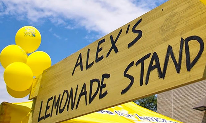 sign says Alex's Lemonade Stand