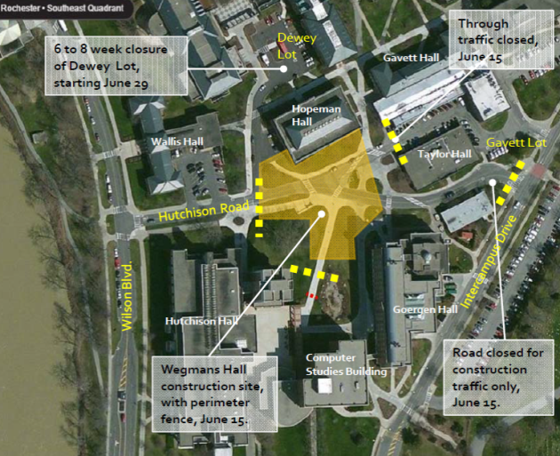 graphic showing parking lots impacted by construction