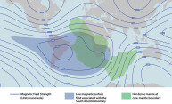 map illustration shows the low magentic surface field associated with the South African Anomoly