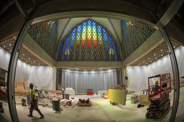 fish-eye lens view of construction work in the chapel