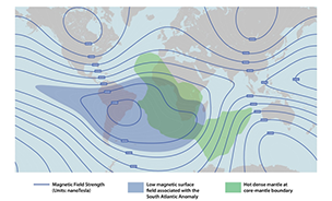 lines delineating magnetic fields across the globe