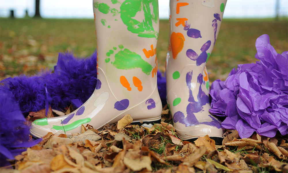 painted rubber boots