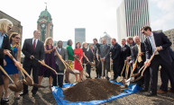 Groundbreaking for HTR's new incubator takes place at Sibley Building