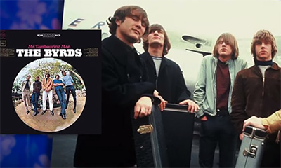 picture of the band The Byrds along with an image of the cover of their album