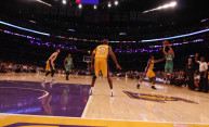 basketball players on the court, including Kobe Bryant and John DiBartelameo