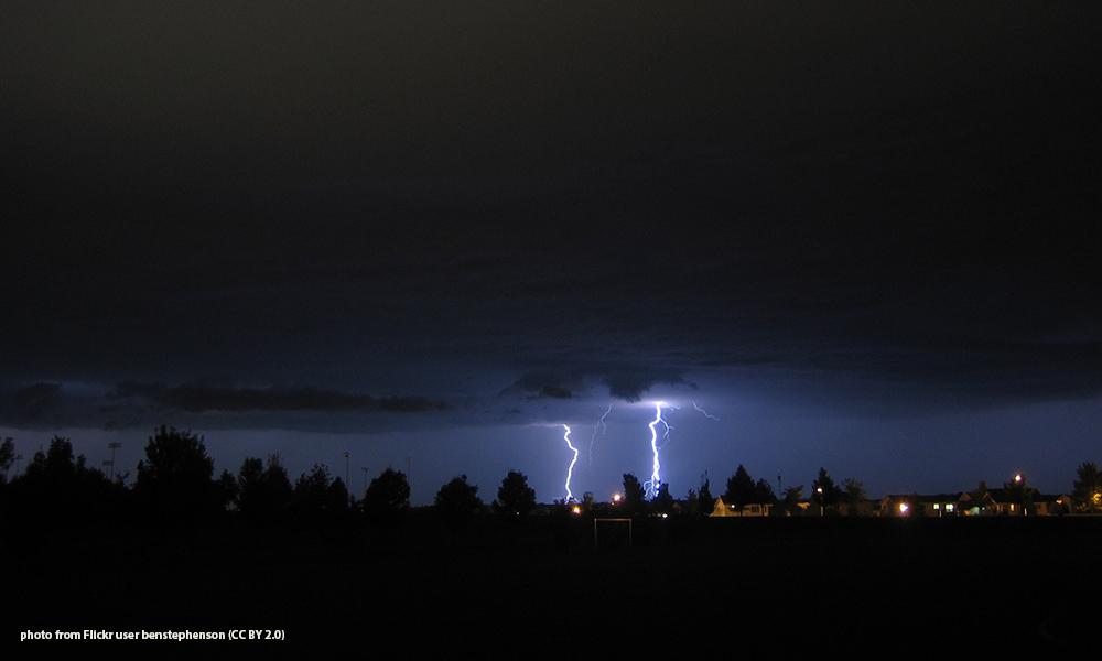 lightning in sky over Rochester
