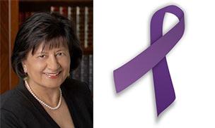 Tasneem Ismailji and purple ribbon