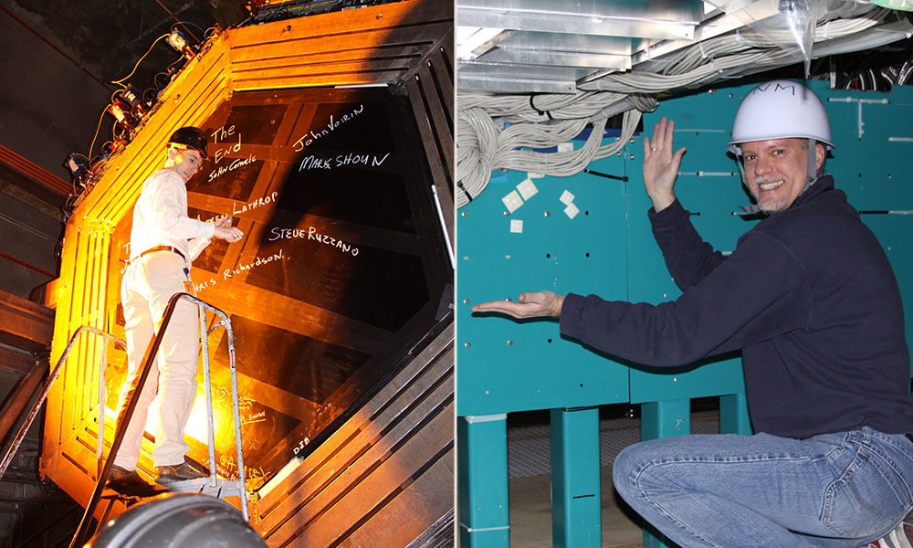 Two photos of Kevin McFarland and Steven Manly at the T2k detector in Japan