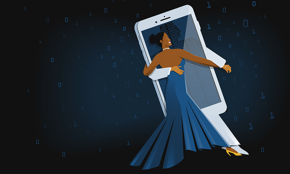 illustration of woman dancing with cellphone